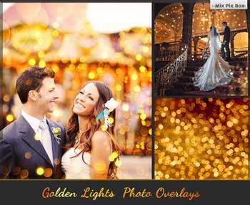 80 Golden lights Effect Photo Overlays, Gold Bokeh Photosh