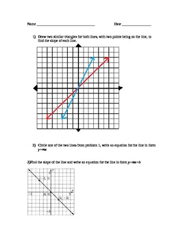 8.EE.6 Pre and post assessment and discovery learning lesson plan