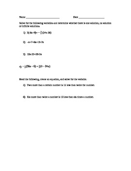 8.EE.7 Pre and post assessment and discovery learning lesson