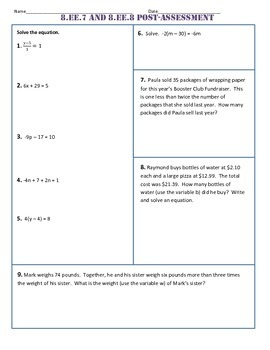 8.EE.7 and 8 Common Core Post-Test/Assessment