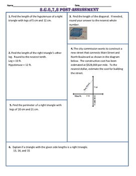 8.G.6,7,8 Common Core Post-Assessment/Test
