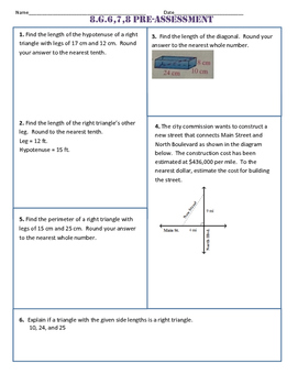 8.G.6,7,8 Common Core Pre AND Post Assessment/Test