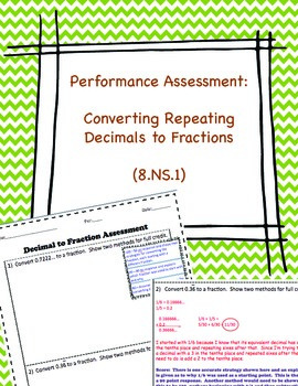 8.NS.1 Converting Repeating Decimals to Fractions: Perform