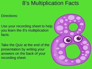 8's Multiplication Facts PowerPoint with Graphic Organizer