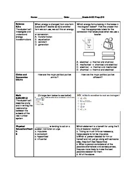 8th Grade ALL SUBJECTS Cross Curricular Prep Bundle #1-10