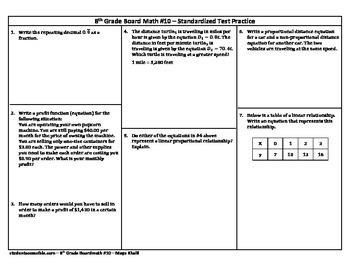 8th Grade Board Math #10 - Standardized Test Practice