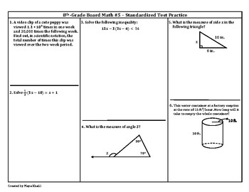 8th Grade Board Math #5 - Standardized Test Practice