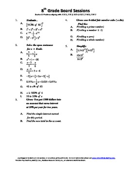 8th Grade Board Session 10,Common Core,Review,Math Counts,