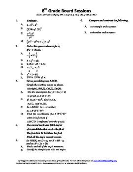 8th Grade Board Session 12,Common Core,Review,Math Counts,