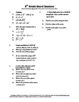 8th Grade Board Session 14,Common Core,Review,Math Counts,