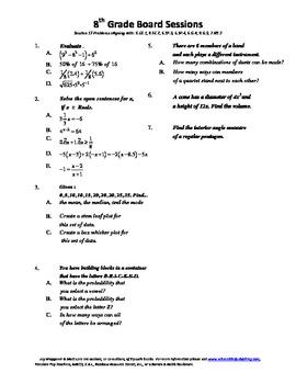 8th Grade Board Session 17,Common Core,Review,Math Counts,