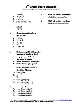 8th Grade Board Session 3,Common Core,Review,Math Counts,Q