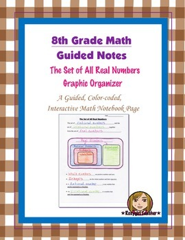 Math 8 Guided Interactive Math Notebook Page: Real Numbers