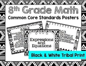 8th Grade Common Core Math Standards Posters- Black & Whit