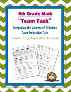 8th Grade Common Core Math {Team Task} ~ Cylinder Volume E