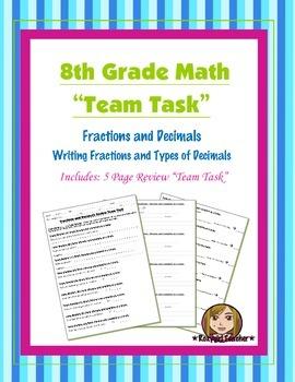 8th Grade Common Core Math {Team Task} ~ Fractions, Ratios