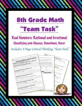 8th Grade Common Core Math {Team Task} ~ Real Numbers: Alw