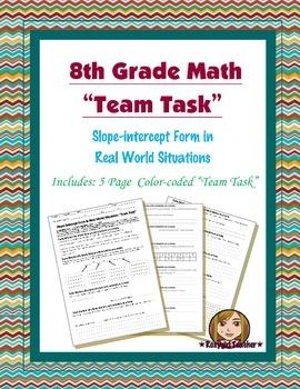 8th Grade Common Core Math {Team Task} ~ Slope-intercept F