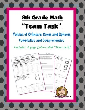 8th Grade Common Core Math {Team Task} ~ Volume of Cylinde