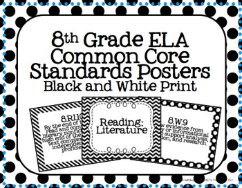 8th Grade ELA Common Core Posters- Black and White Pattern