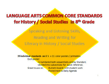 8th Grade ELA Common Core Standards for HISTORY / SOCIAL STUDIES
