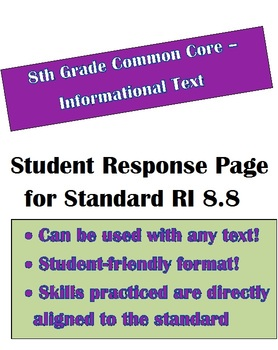 Common Core Informational Text: Student Response Page for