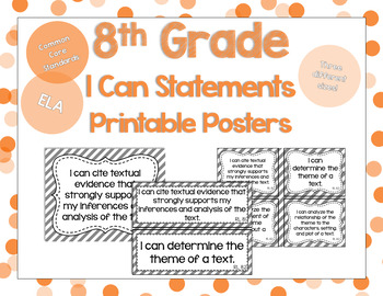 8th Grade ELA I Can Statements for CCSS Standards (Gray Stripes)
