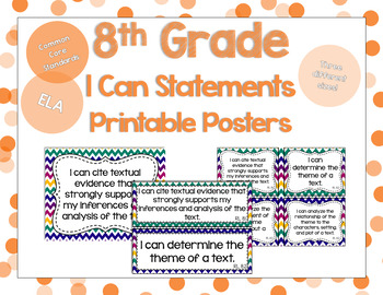 8th Grade ELA I Can Statements for CCSS Standards (Jewel T