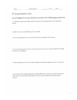 8th Grade Genetics Test