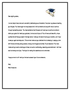 Goodbye Letters - Graduation / End of School Year