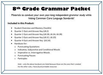 8th Grade Grammar - COMPLETE UNIT for an entire year of in