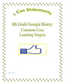 8th Grade I CAN Common Core Statements for Georgia History