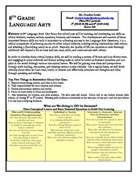 Concept-Based 8th Grade Language Arts Syllabus (supports C
