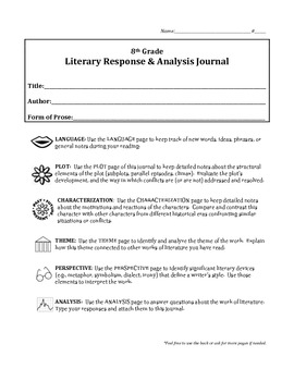 8th Grade Literary Response Journal