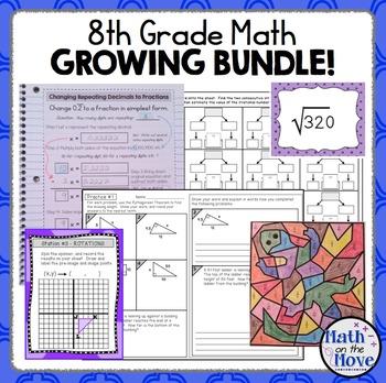 8th Grade Math Bundle - Notes, Worksheets, Activities, and