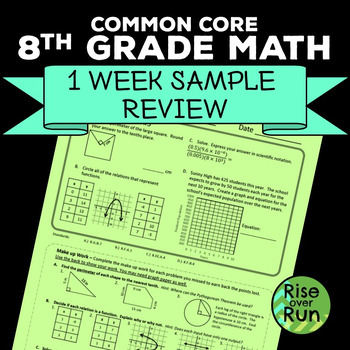 8th Grade Math Common Core: 1 Week of Practice