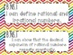 8th Grade Math Common Core *I Can Statements* Rainbow Chevron