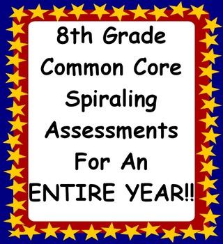 8th Grade Math Common Core Spiraling Assessments Bundle