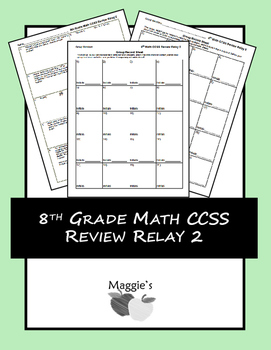 8th Grade Math Common Core State Standards Review Relay 2 (Game)