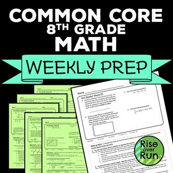 8th Grade Math Common Core Weekly Prep