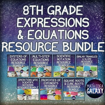 8th Grade Math Equations and Expressions Activity Bundle
