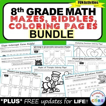 8th Grade Math Mazes, Riddles & Coloring Pages (Fun MATH A