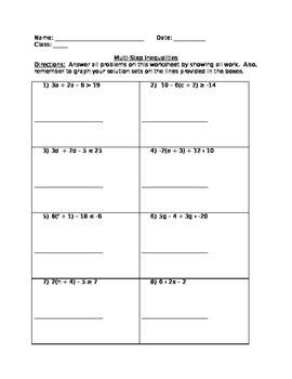 8th Grade Math Multi-step Inequalities Worksheet