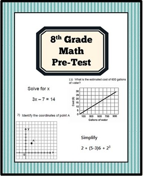 8th Grade Math Pre- Test