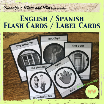 Hola! Spanish / English Label Cards