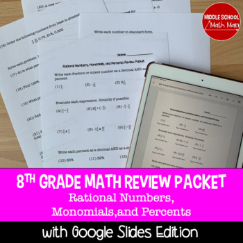 8th Grade Math Review Packet - Rational Numbers, Monomials