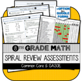 8th Grade Math Spiral Review Assessments for Common Core w