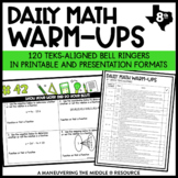 8th Grade Math Warm Ups - TEKS