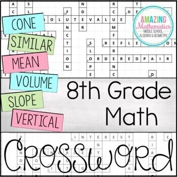 8th Grade Math Vocabulary Crossword
