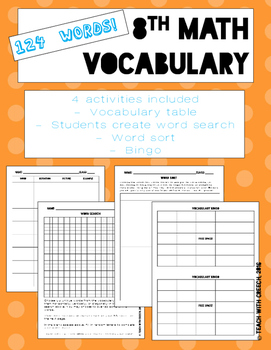 8th Grade Math Vocabulary Worksheets and Activities